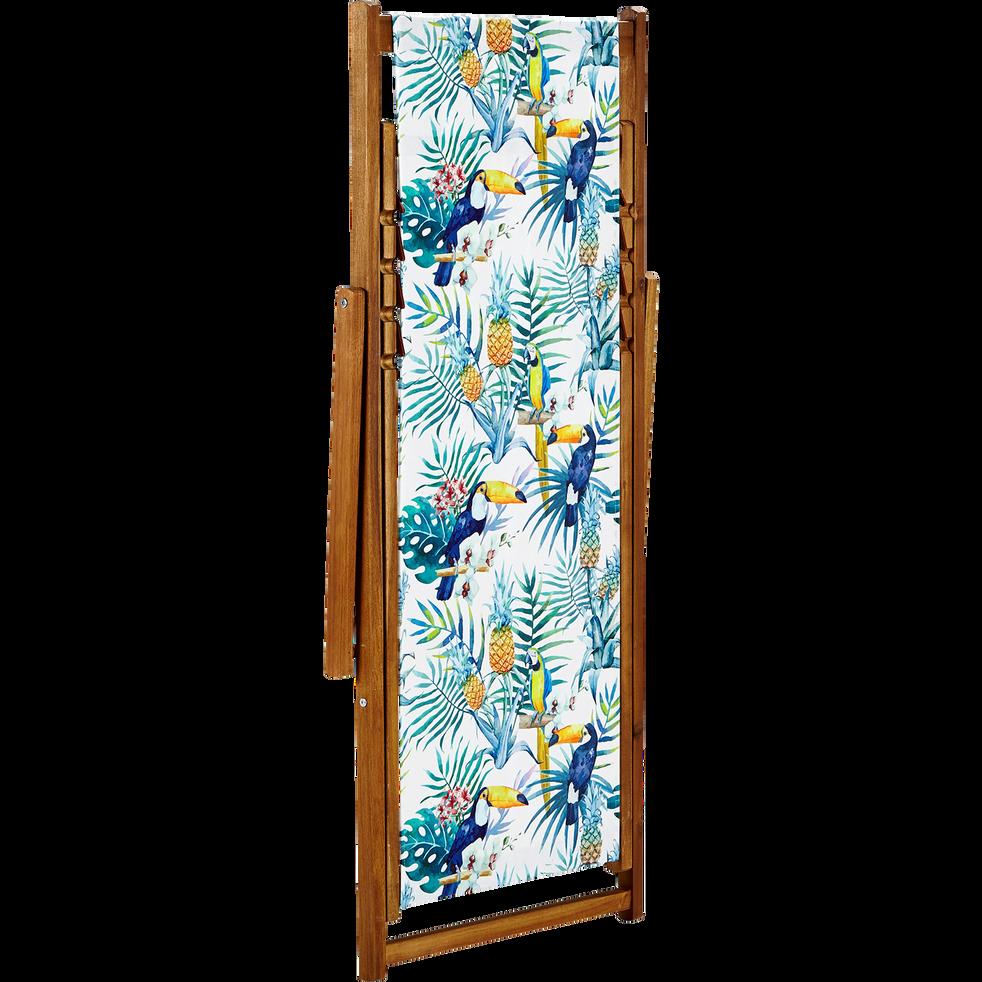Chaise longue de jardin motifs tropicaux jungle-TROPICALE