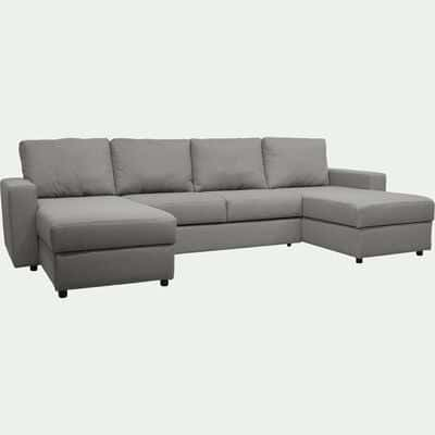 Canapé en U convertible en tissu - gris borie-FERNAND