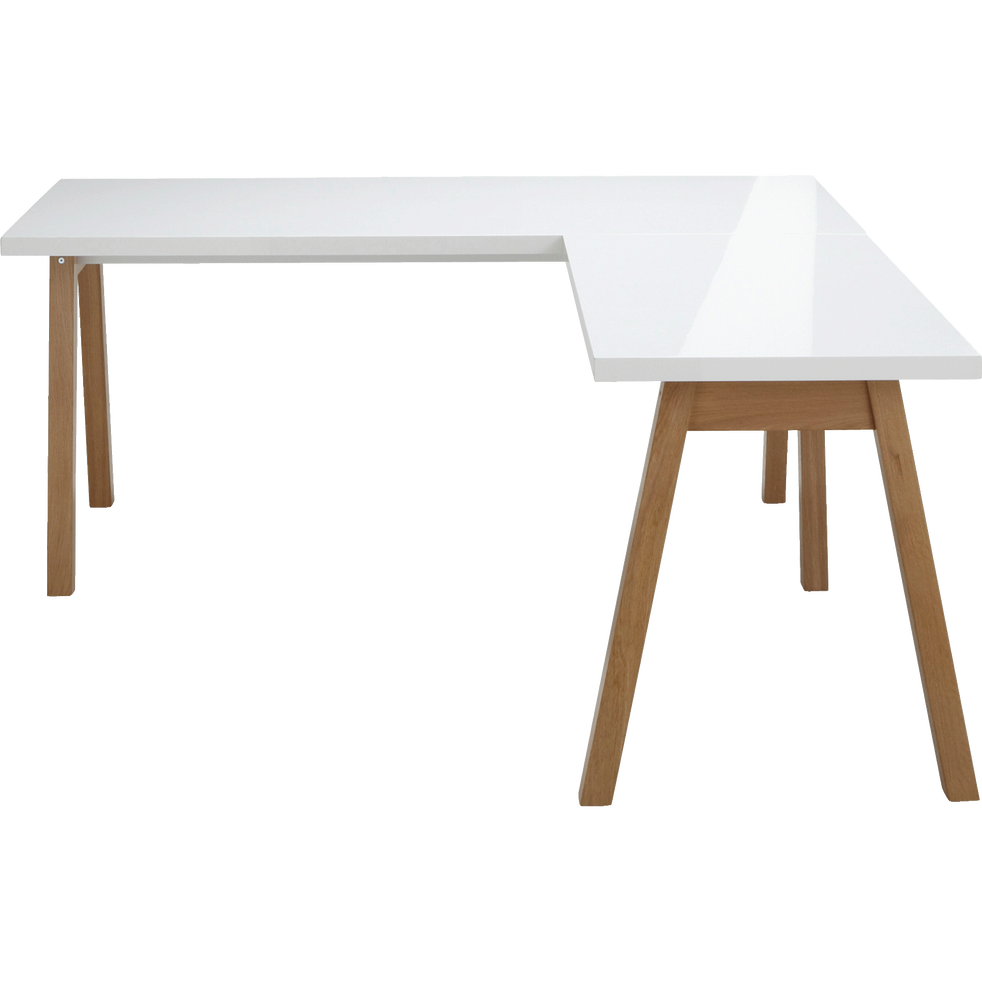bureau d 39 angle avec pi tement en bois massif blanc oslo. Black Bedroom Furniture Sets. Home Design Ideas