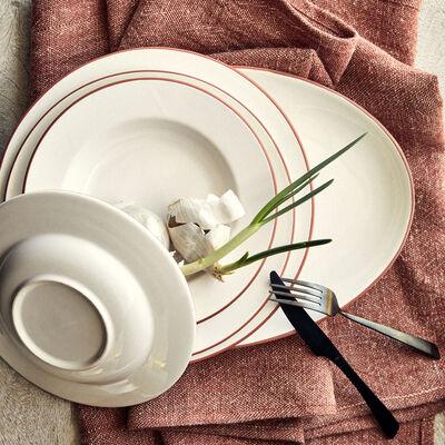 Plat ovale liseré terracotta en faïence - blanc 28x40cm-SOLLER