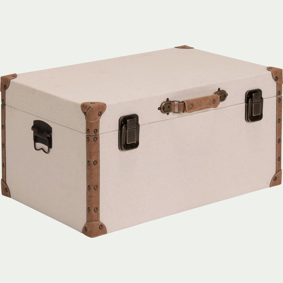 Malle de rangement en tissu - beige H25xL60cm-CARLONE