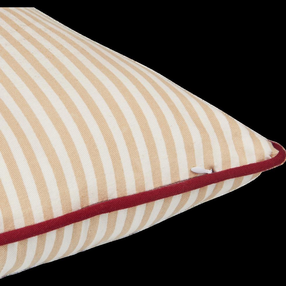 Coussin carré 40x40cm rose sable à rayures pour enfant-RAYURES