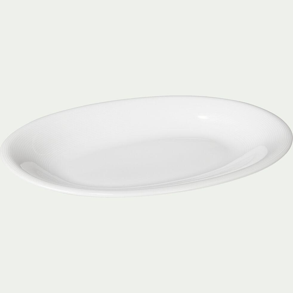 Plat de présentation ovale en porcelaine qualité hôtelière blanc-ETO