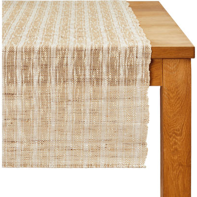 Chemin de table en ramie beige 150x45cm-ABOU