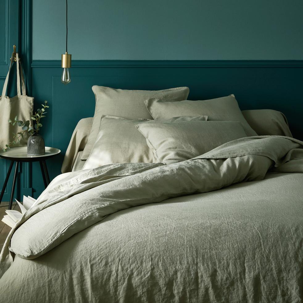 housse de couette en lin vert olivier 240x220cm vence 240x220 cm catalogue storefront. Black Bedroom Furniture Sets. Home Design Ideas