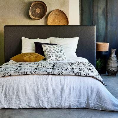 Édredon en lin et coton motif Aloyse - blanc et noir 100x180cm-ALOYSE