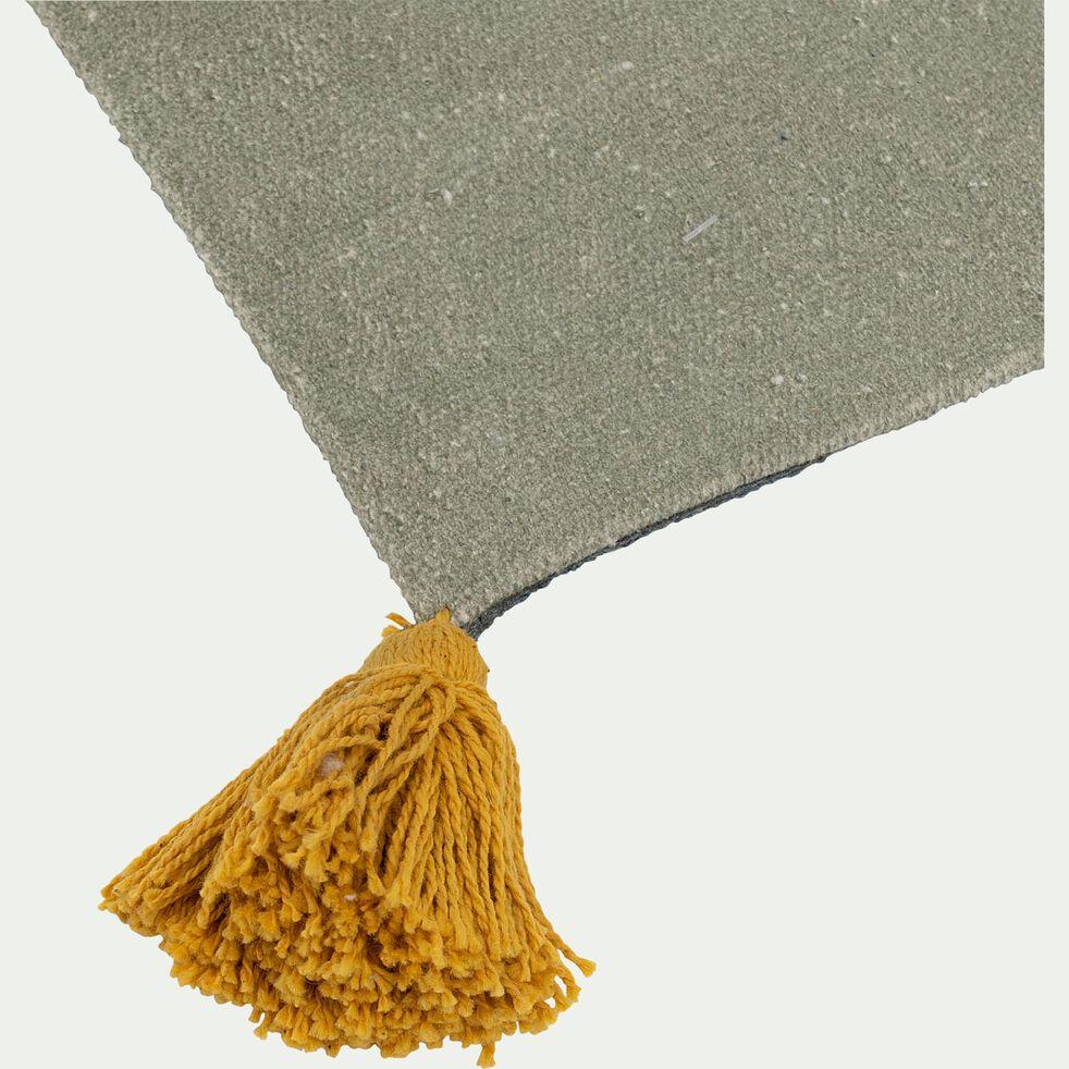 Tapis enfant rectangulaire en coton tissé plat imprimé motif feuilles 120x180cm - multicolore-Cosmo