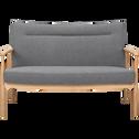 Canapé 2 places fixe en chêne et tissu gris chiné-ANTON