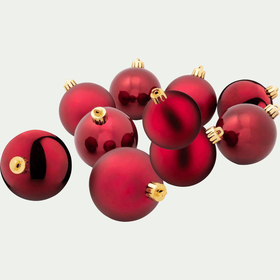 10 boules en plastique rouge D6cm-BAUS