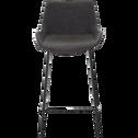Chaise de bar en simili gris - H66cm-GEDEON