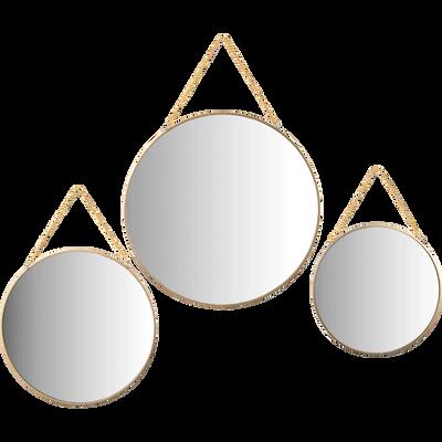Ensemble de 3 miroirs ronds dorés-ANTARES