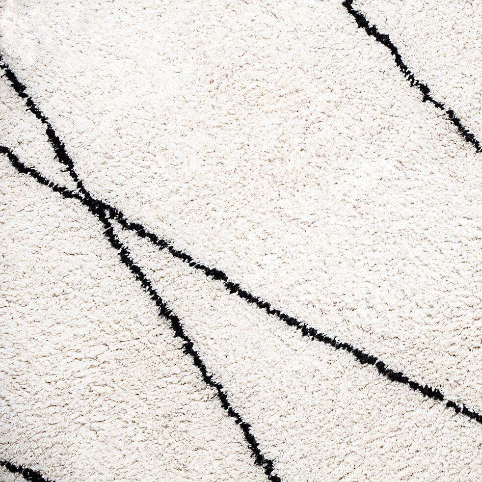 Tapis à motifs géométriques en coton - blanc et noir 160x230cm-BENISSE