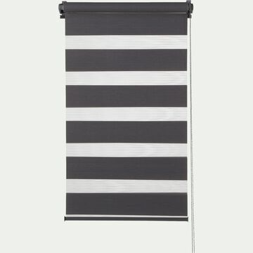 Store enrouleur tamisant - gris anthracite 42x190cm-JOUR-NUIT