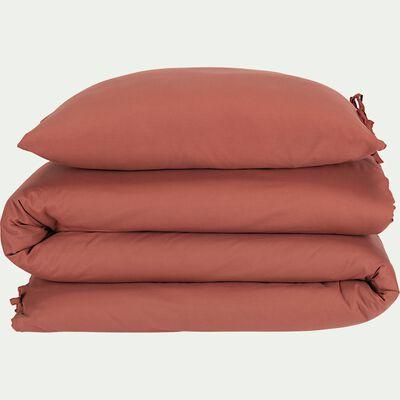 Housse de couette et 2 taies d'oreiller en coton lavé - rouge arcilla 240x220cm-MANTA