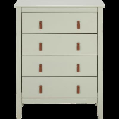 Commode 4 tiroirs avec structure et façade en pin massif vert olivier-LISON