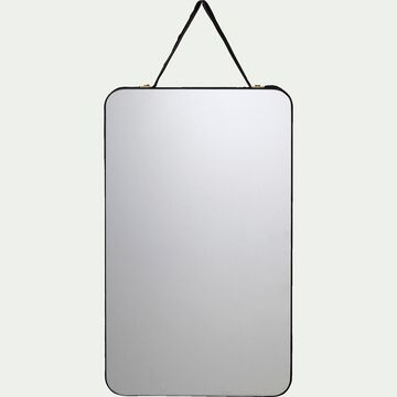 Miroir mural rectangulaire en velours - noir 12x20cm-BELISSO