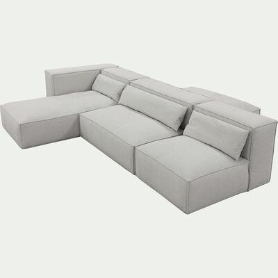 Canapé d'angle 5 places gauche en tissu - beige roucas L321cm largeur 245cm-REVERE