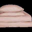 Drap housse en percale de coton Rose argile 160x200cm bonnet 25cm-FLORE