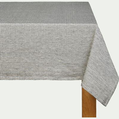 Nappe de table en coton - blanc et noir 170x250cm-NOVA