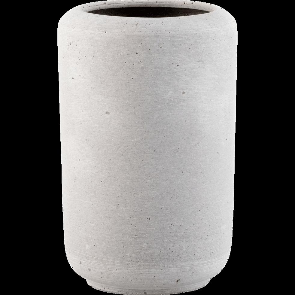 Vase effet béton gris H24cm-CALCIS