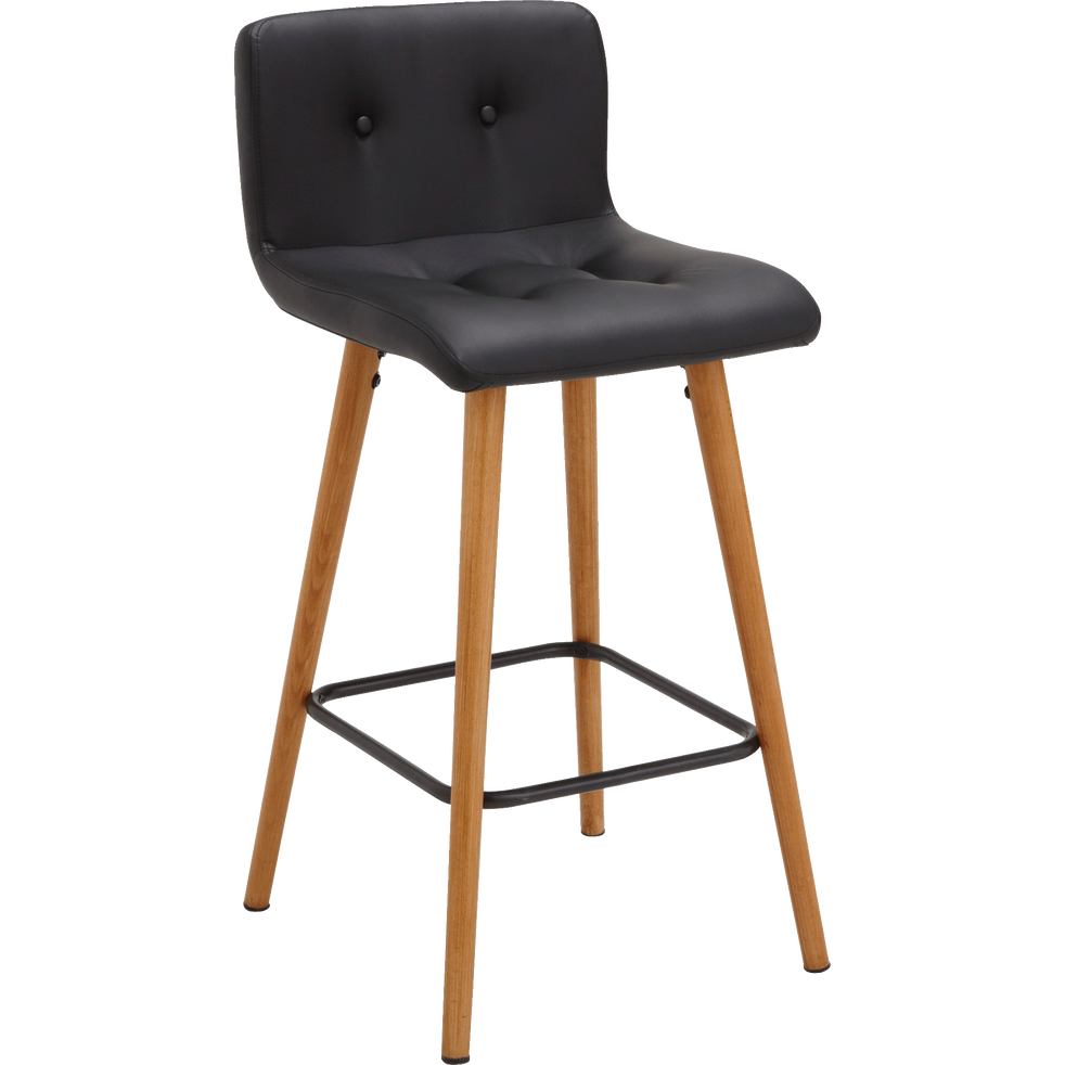 Chaise de bar en simili noir - H66cm-FRIDA
