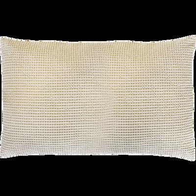 Coussin en coton beige effet nid d'abeille 40x60cm-HONEY