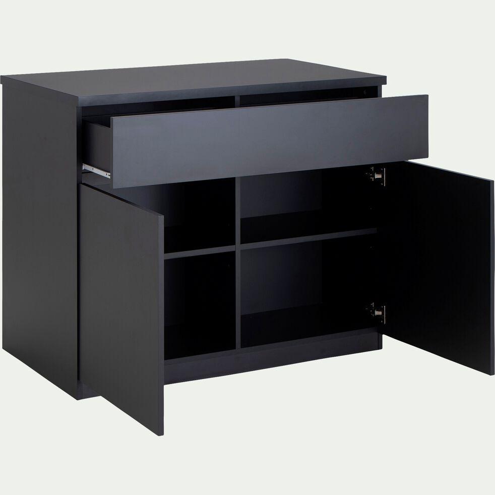 Ilot central de cuisine en bois avec rangement réversible L115cm - noir-GABIN