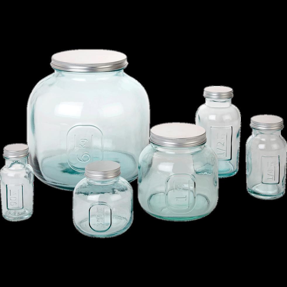 Bocal en verre recyclé avec bouchon 1Kg-STORAGE