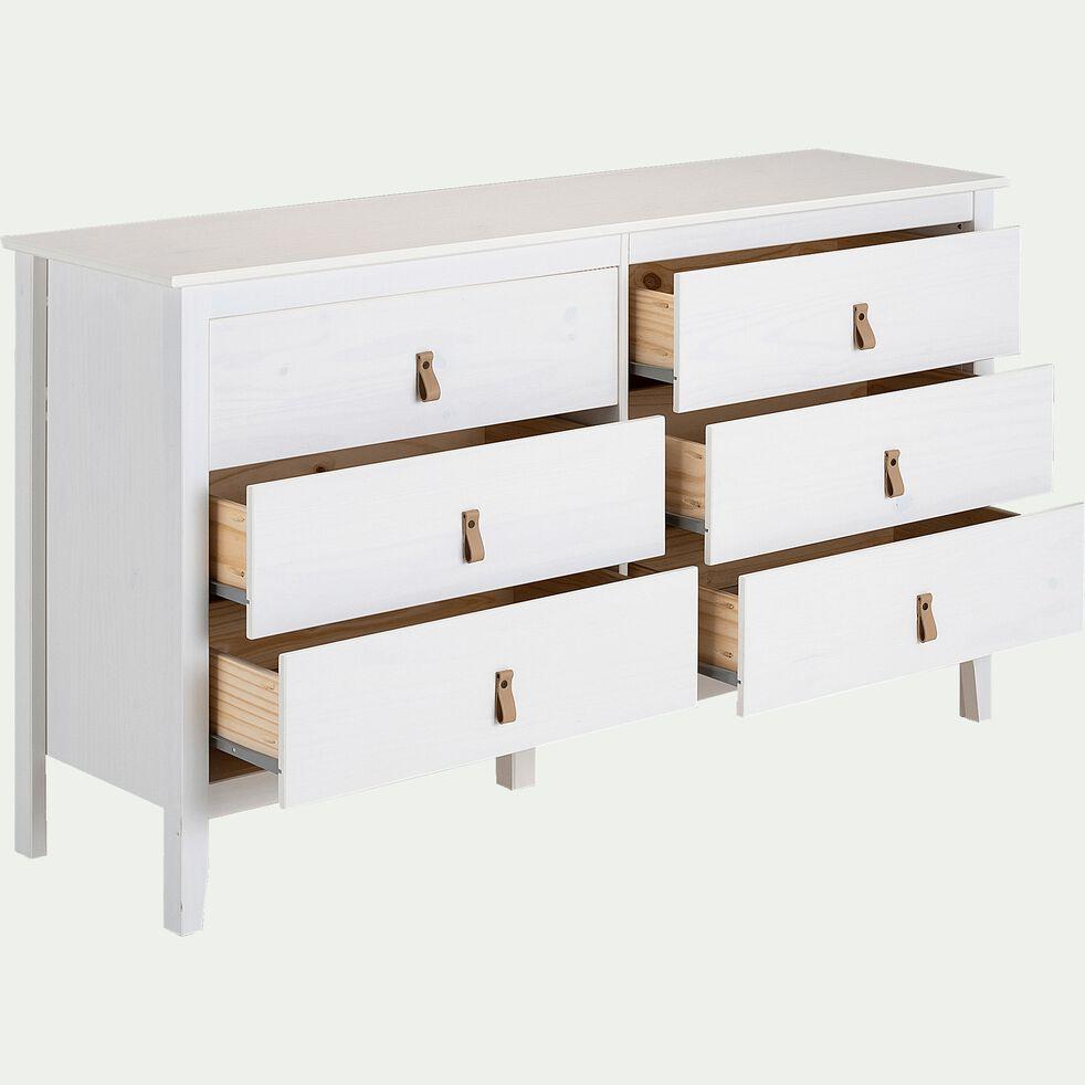 Commode en bois 6 tiroirs L142,50xl39xH80cm - blanc-LISA