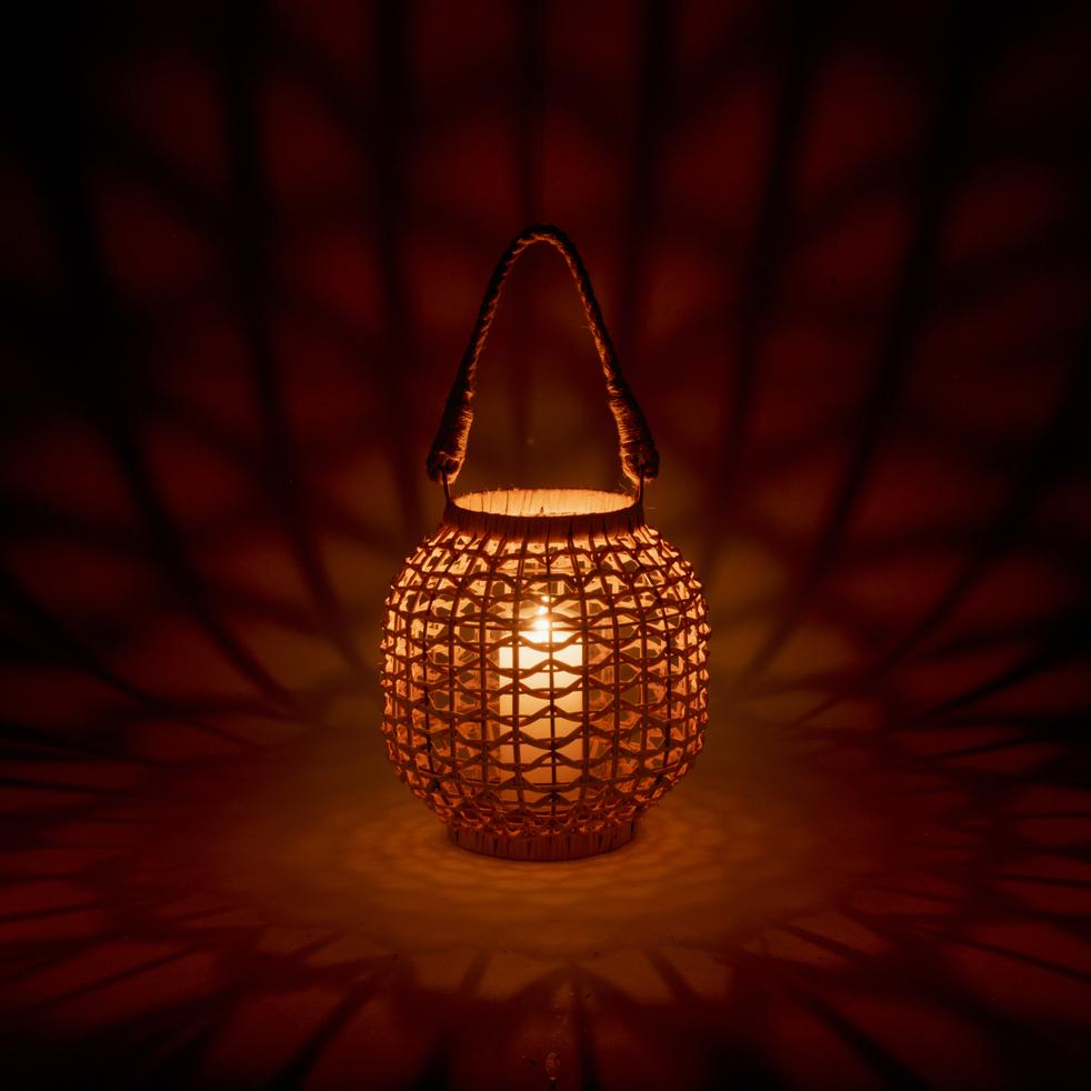 Lanterne en rotin H24cm-Tachkent