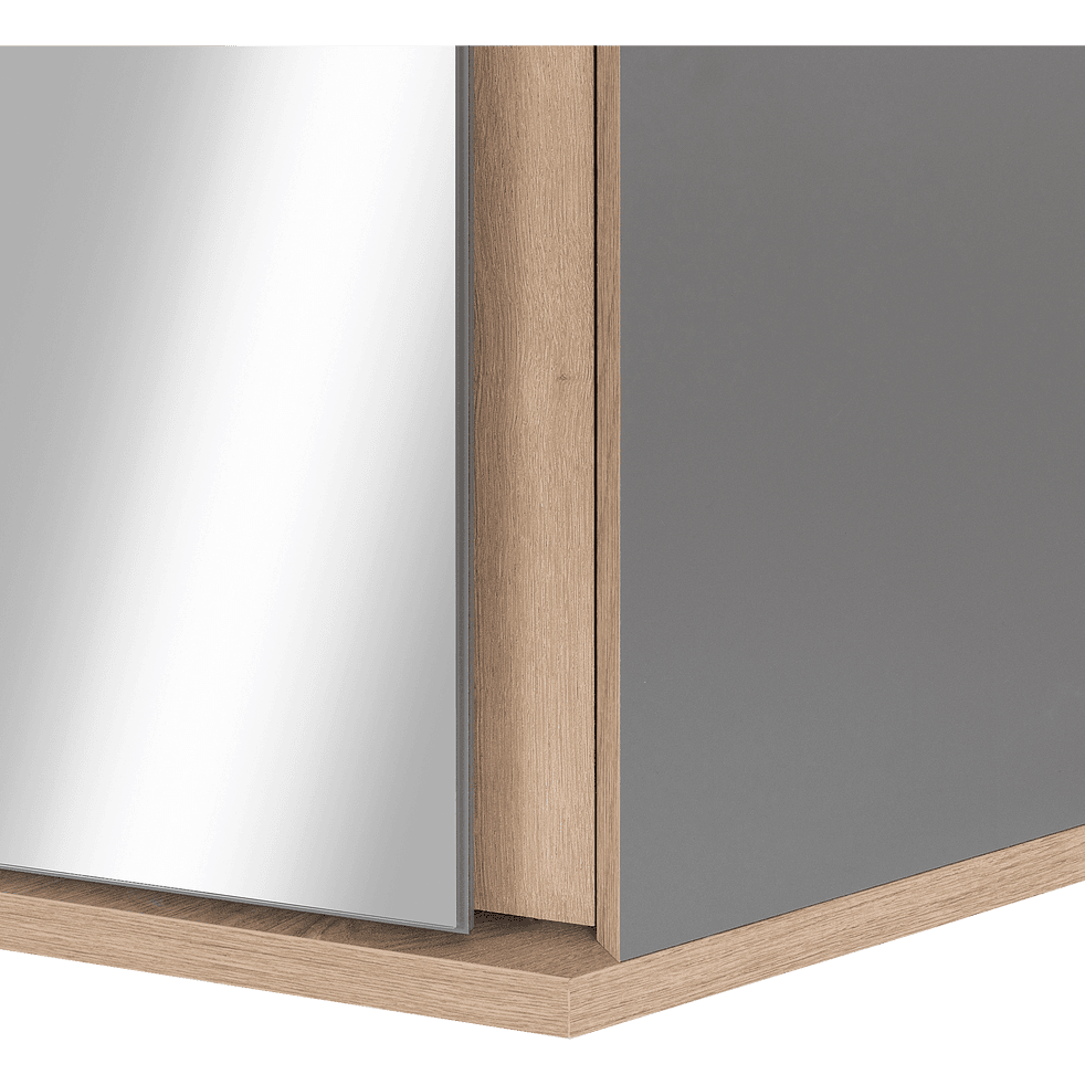 Armoire dressing d'angle avec 1 porte effet chêne - gris-NESTOR