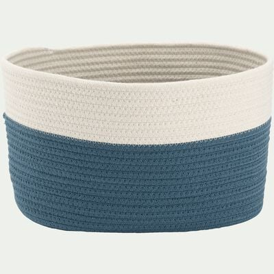 Panier de rangement bicolore - bleu L30xl20xH20cm-Louni