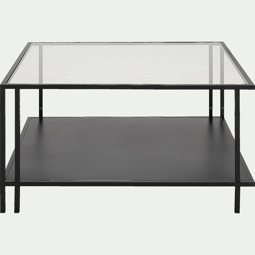 HENU - Table basse en verre et métal L5xl5xH5cm - noir