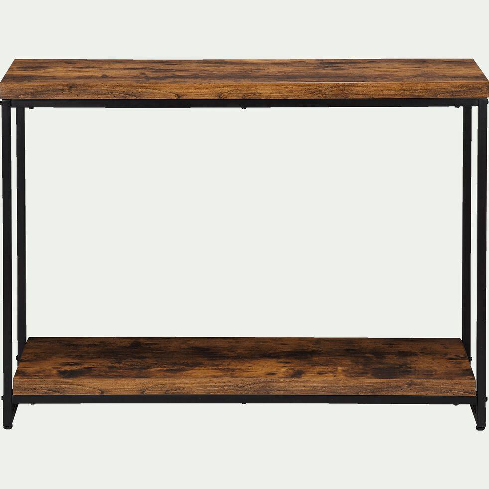 Console effet bois et acier - marron 110x79,5x35cm-MANILLE