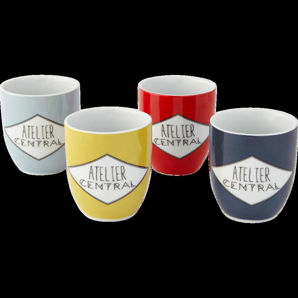 Coffrets de 4 mugs en porcelaine décorée-ATELIER