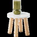 Table de chevet avec piétement en pin massif Blanc-TOUDOU