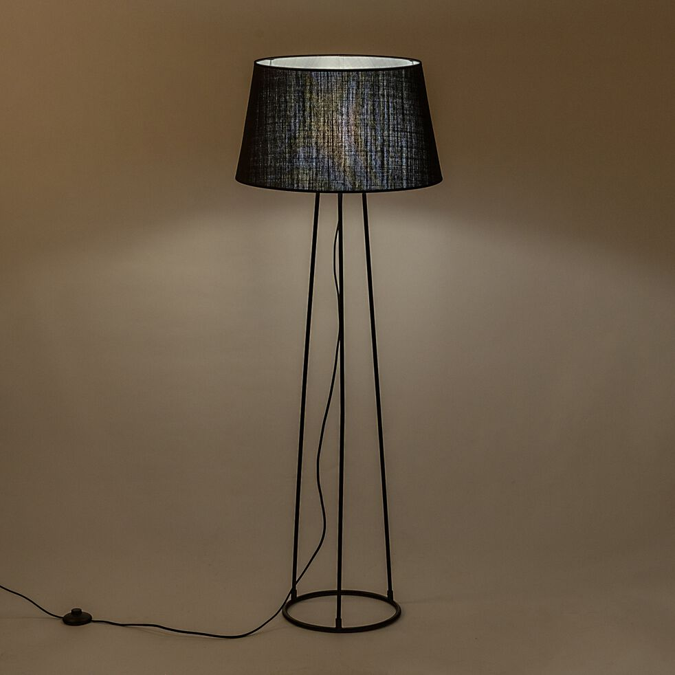 Lampadaire en métal - noir-BLANDINE