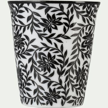 Lot de 6 tasses en porcelaine gris calabrun motif jasmin 9cl-CAMILLE