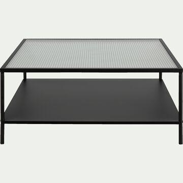 Table basse carrée en métal et en verre cannelé-VAREI