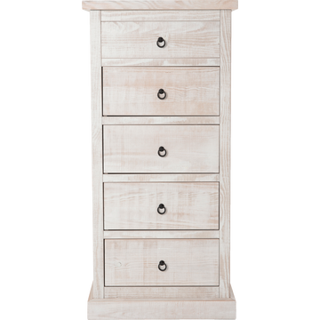 Chiffonnier 5 tiroirs en pin brossé blanchi-JALOUSIE