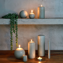 8 bougies flambeaux vert olivier H18cm-HALBA