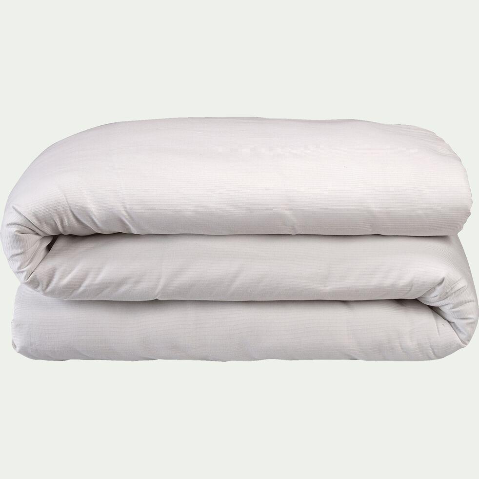 Housse de couette rayée en satin de coton - blanc capelan 260x240cm-SANTIS