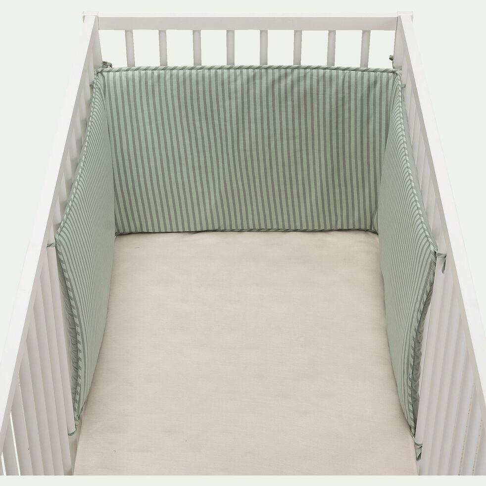 Tour de lit bébé en coton bio avec imprimé - multicolore-Aquastripe