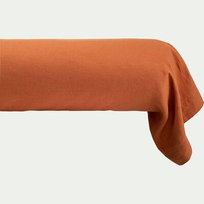 Taie de traversin en lin - brun rustrel 45x190cm-VENCE