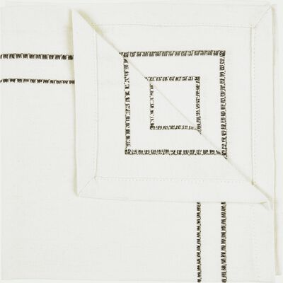 Lot de 2 serviettes de table en coton blanc et noir 41x41cm-GALLIA