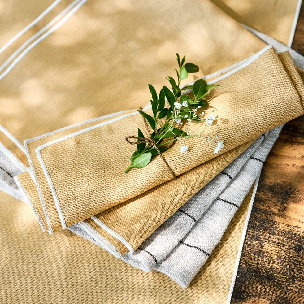 Nappe en lin et coton beige nèfle 170x250cm-MILA