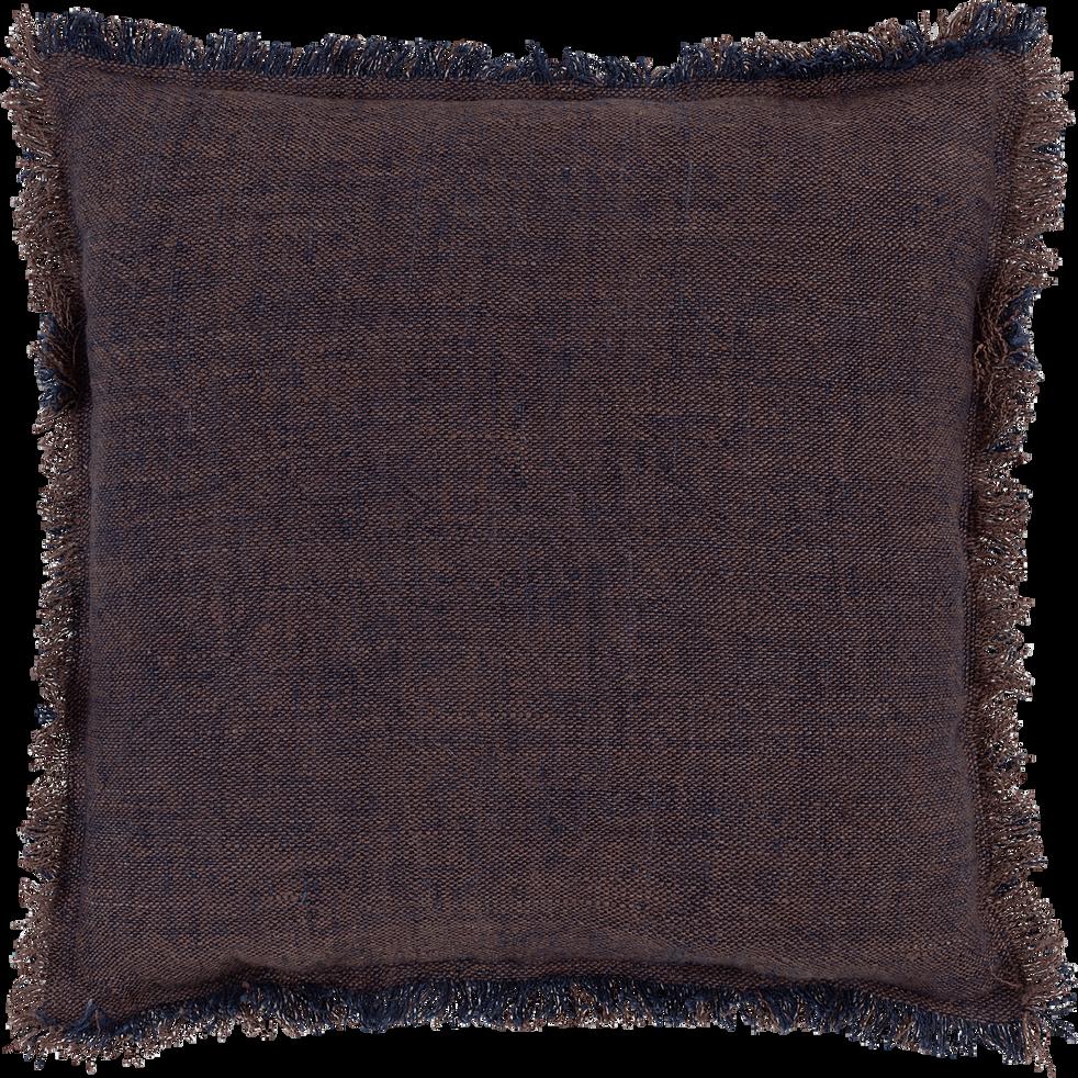 Coussin à franges en lin marron et bleu 45x45cm-CREPUSCULE