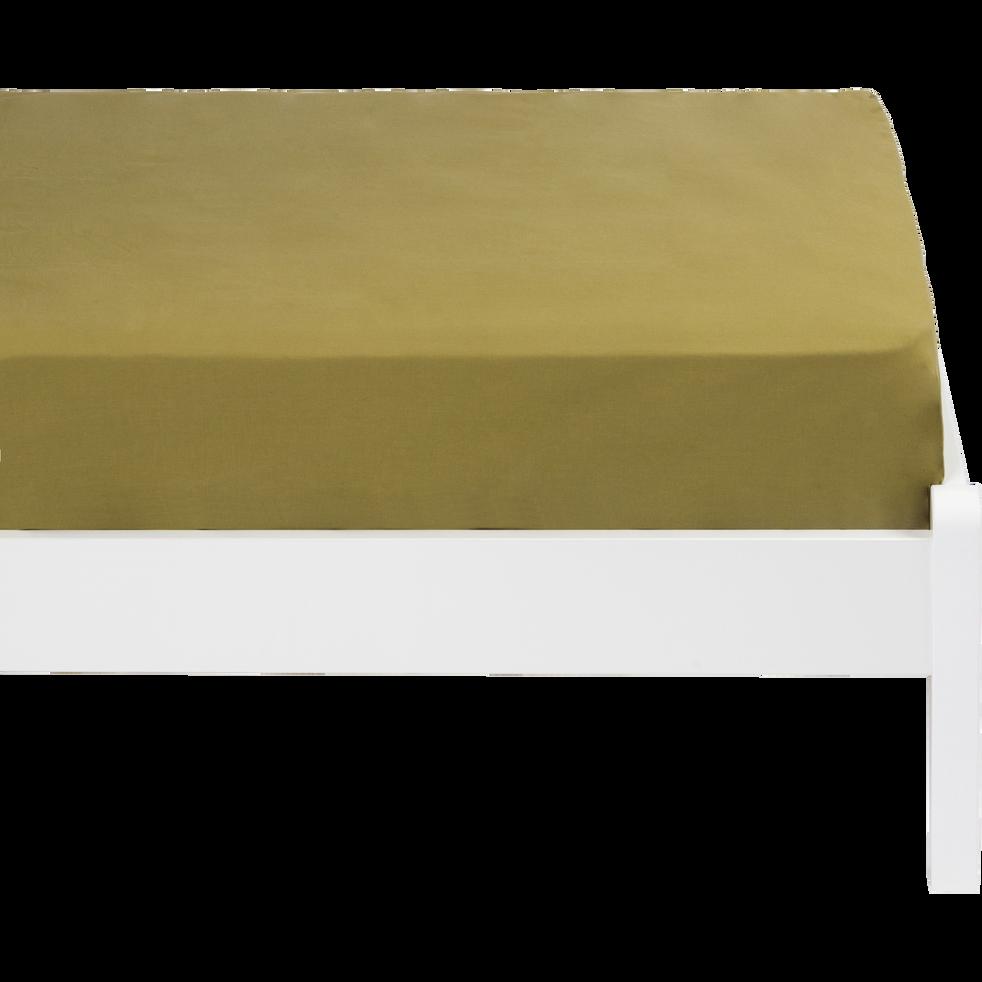 Drap housse en coton lavé vert guarrigue 90x140 cm   CALANQUES