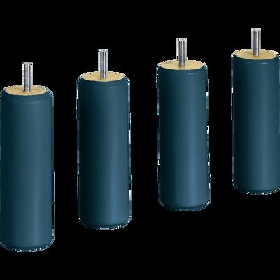 Pieds de sommier cylindriques en hêtre massif Bleu figuerolles - lot de 4-CYLINDRE
