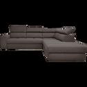 Canapé d'angle droit panoramique convertible en tissu anthracite-TONIN